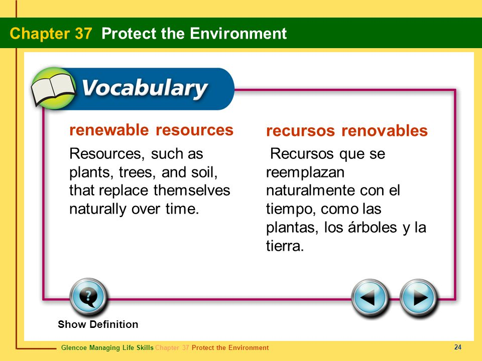 renewable resources recursos renovables