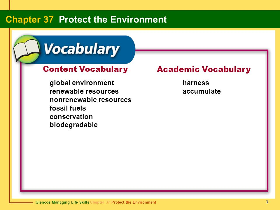 Content Vocabulary Academic Vocabulary global environment