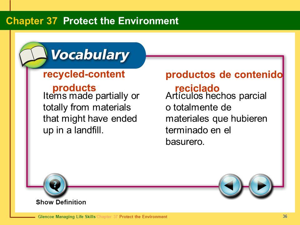 recycled-content products productos de contenido reciclado