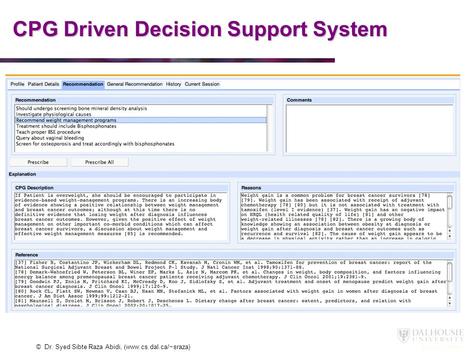 CPG Driven Decision Support System