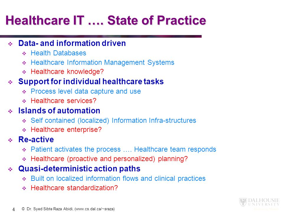 Healthcare IT …. State of Practice