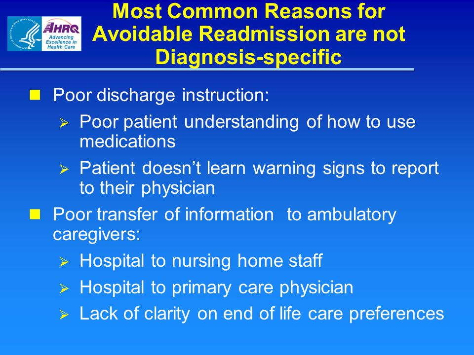 Most Common Reasons for Avoidable Readmission are not Diagnosis-specific