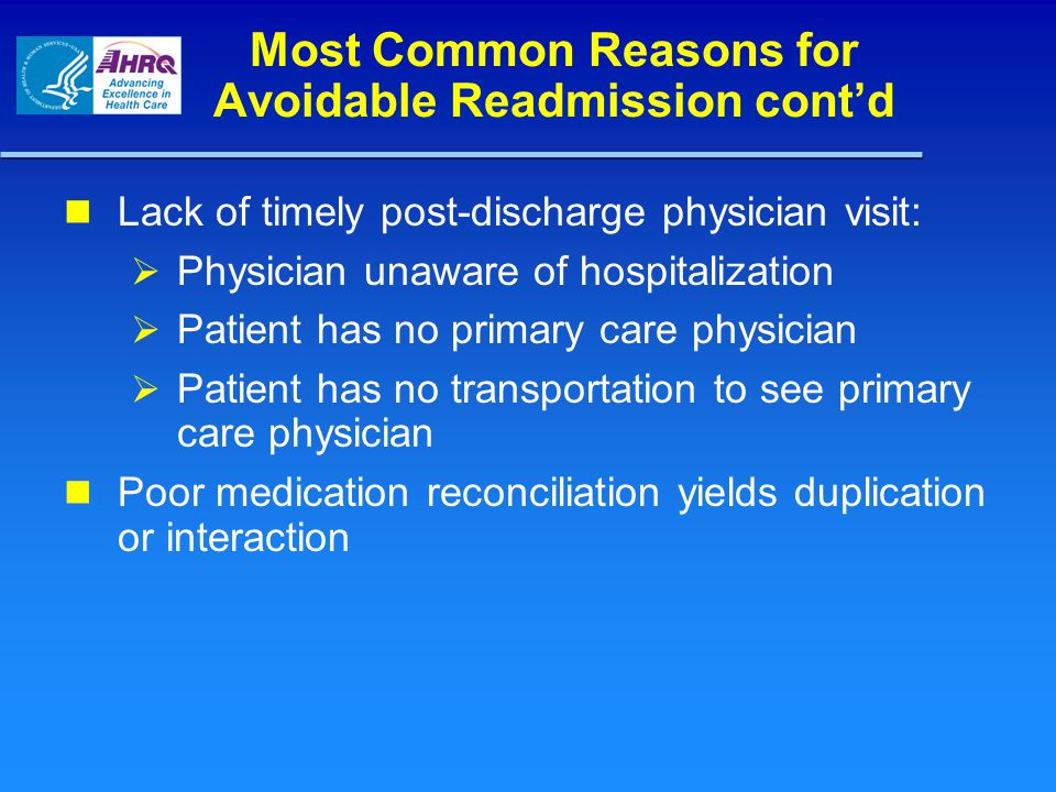 Most Common Reasons for Avoidable Readmission cont'd