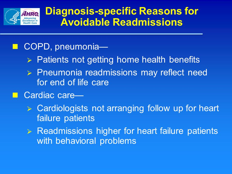 Diagnosis-specific Reasons for Avoidable Readmissions