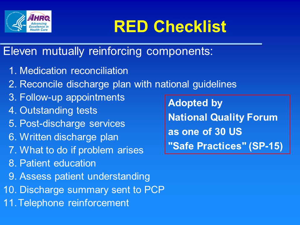 RED Checklist Eleven mutually reinforcing components: