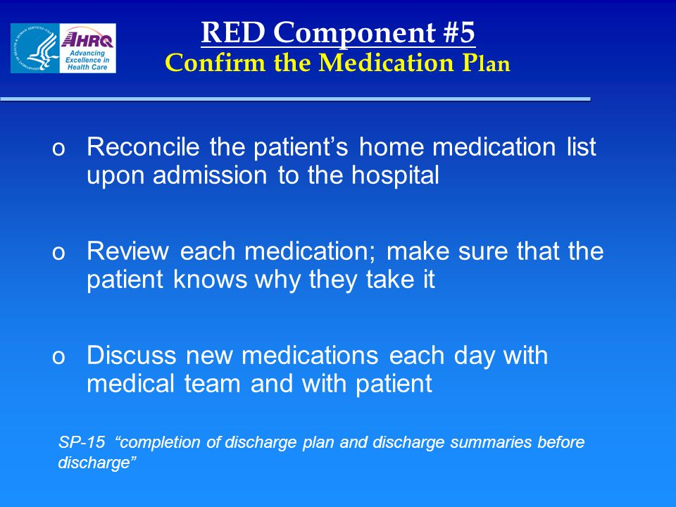 RED Component #5 Confirm the Medication Plan
