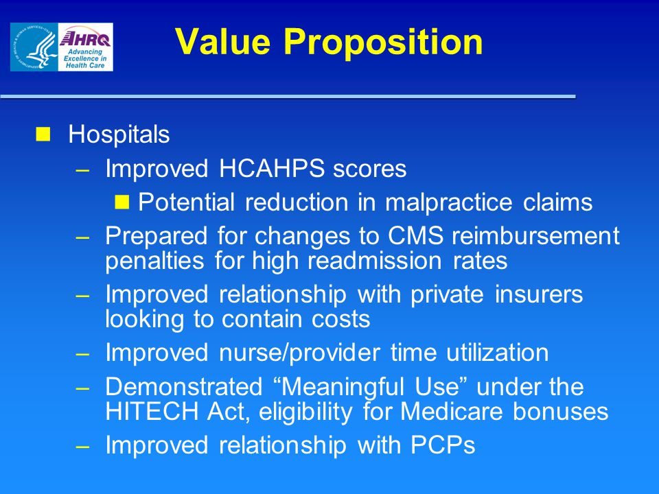 Value Proposition Hospitals Improved HCAHPS scores