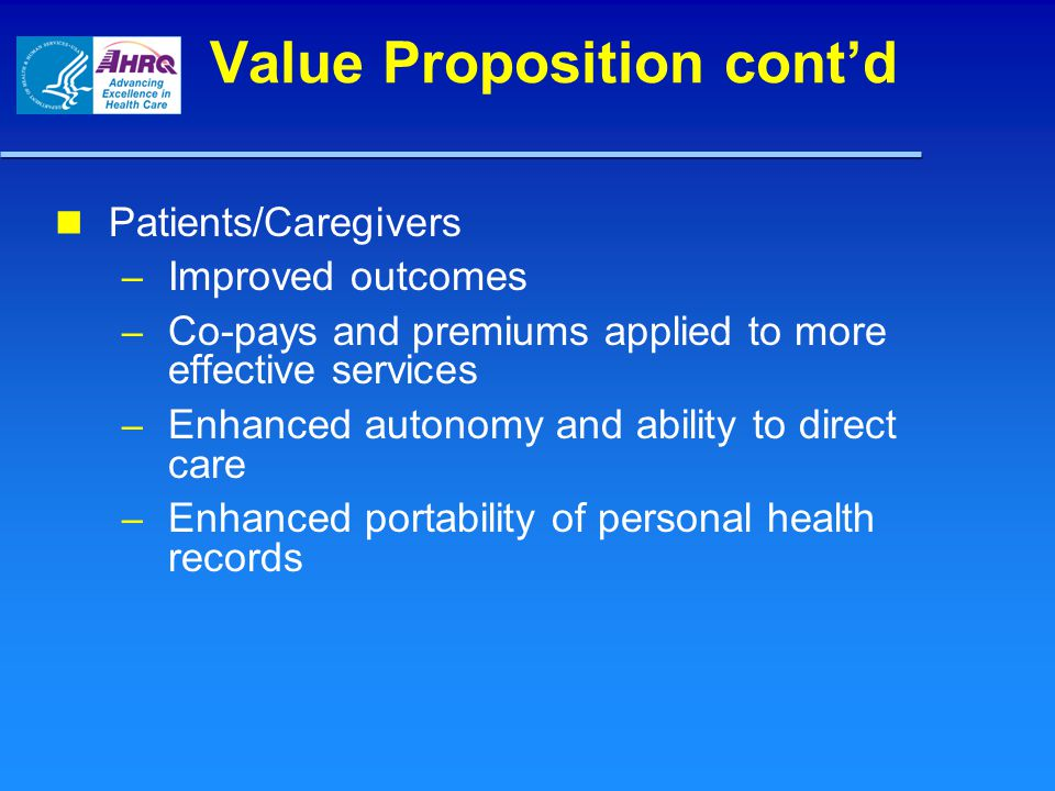 Value Proposition cont'd