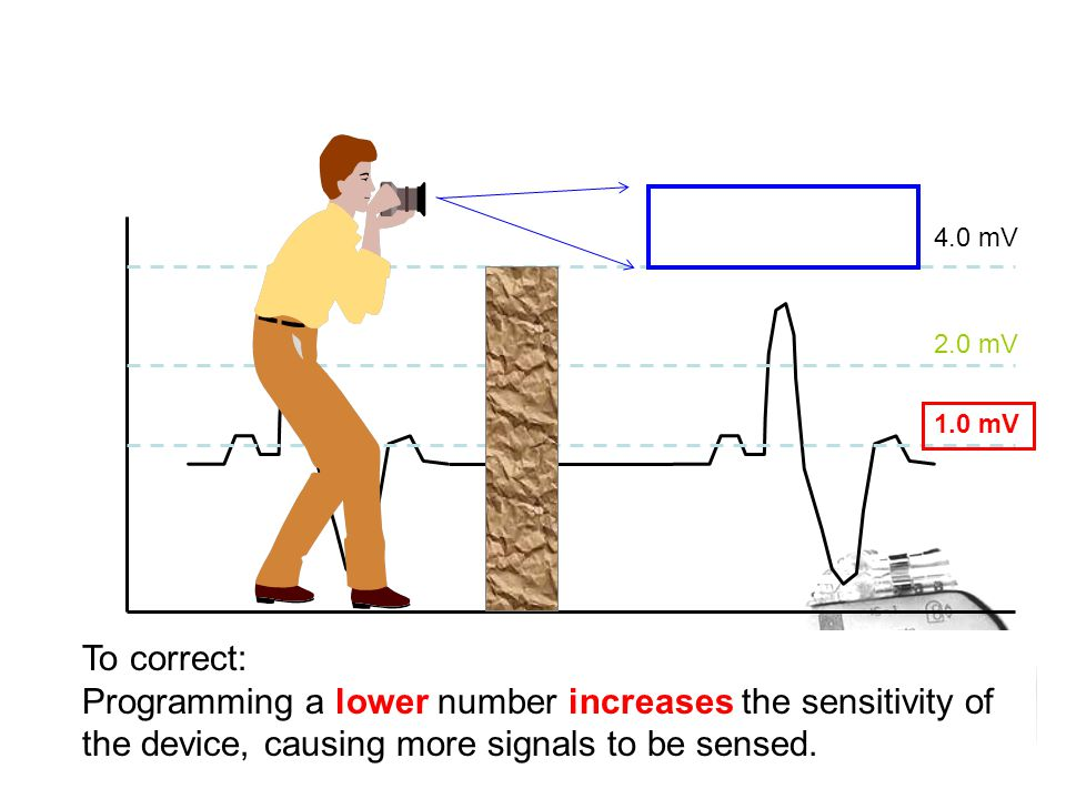 To correct: Programming a lower number increases the sensitivity of the device, causing more signals to be sensed.