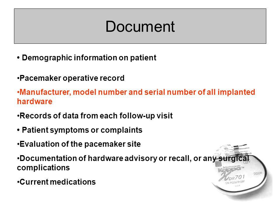 Document • Demographic information on patient