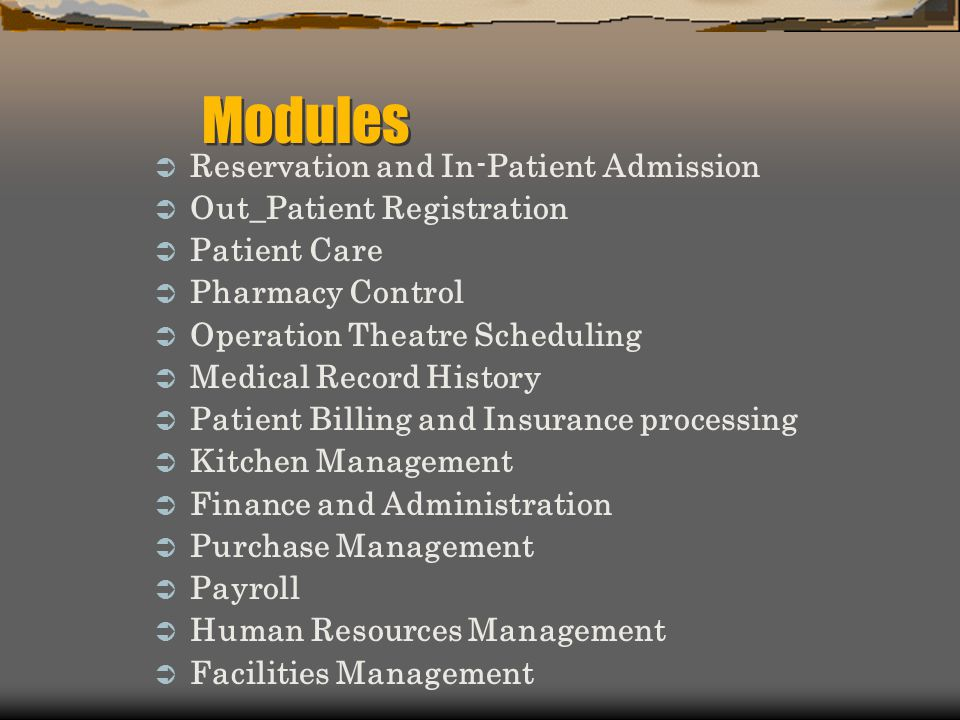 Modules Reservation and In-Patient Admission Out_Patient Registration
