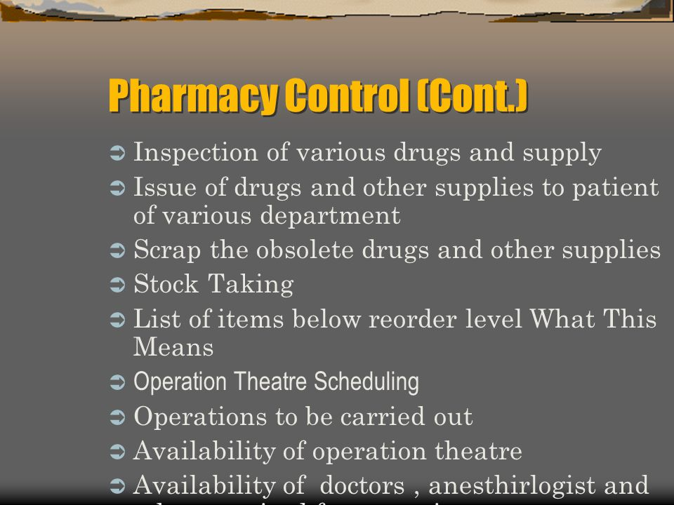 Pharmacy Control (Cont.)