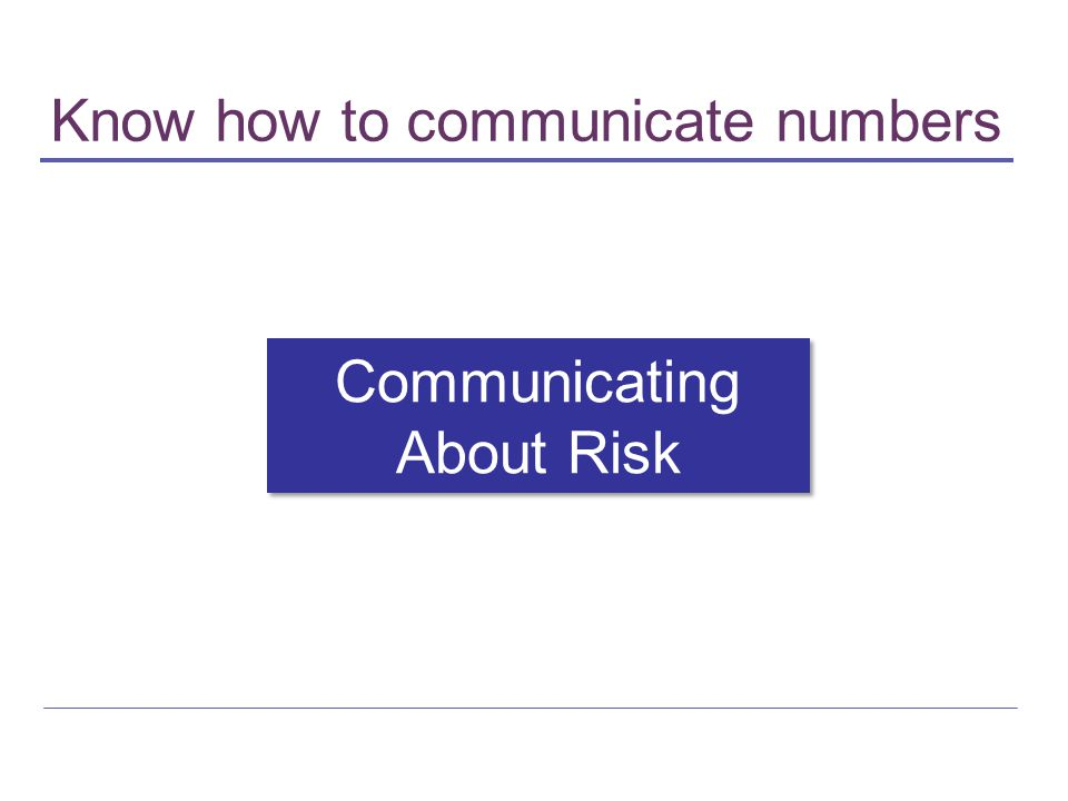 Know how to communicate numbers