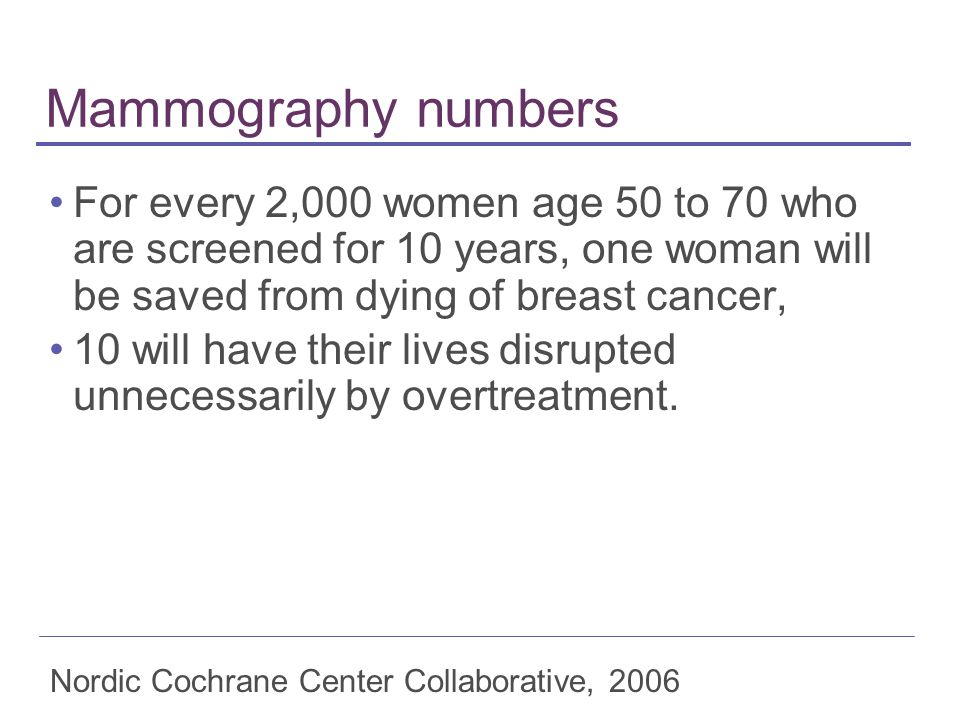 Mammography numbers For every 2,000 women age 50 to 70 who are screened for 10 years, one woman will be saved from dying of breast cancer,