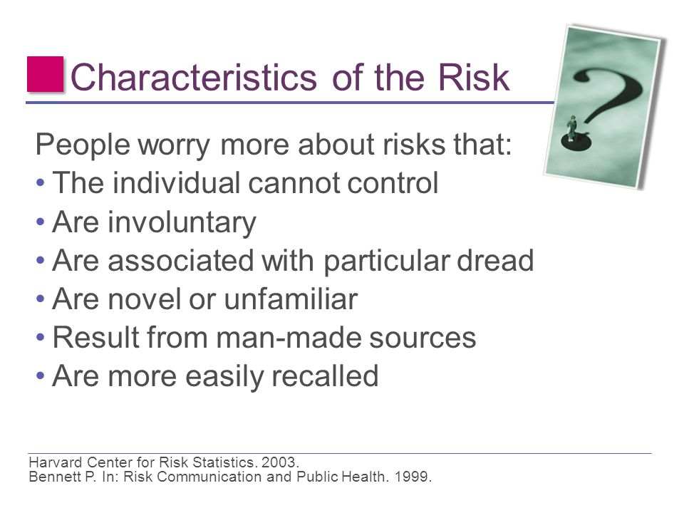Characteristics of the Risk