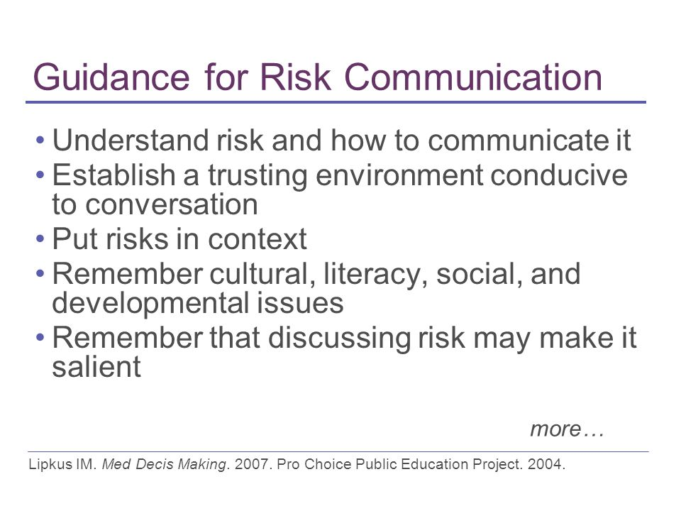 Guidance for Risk Communication