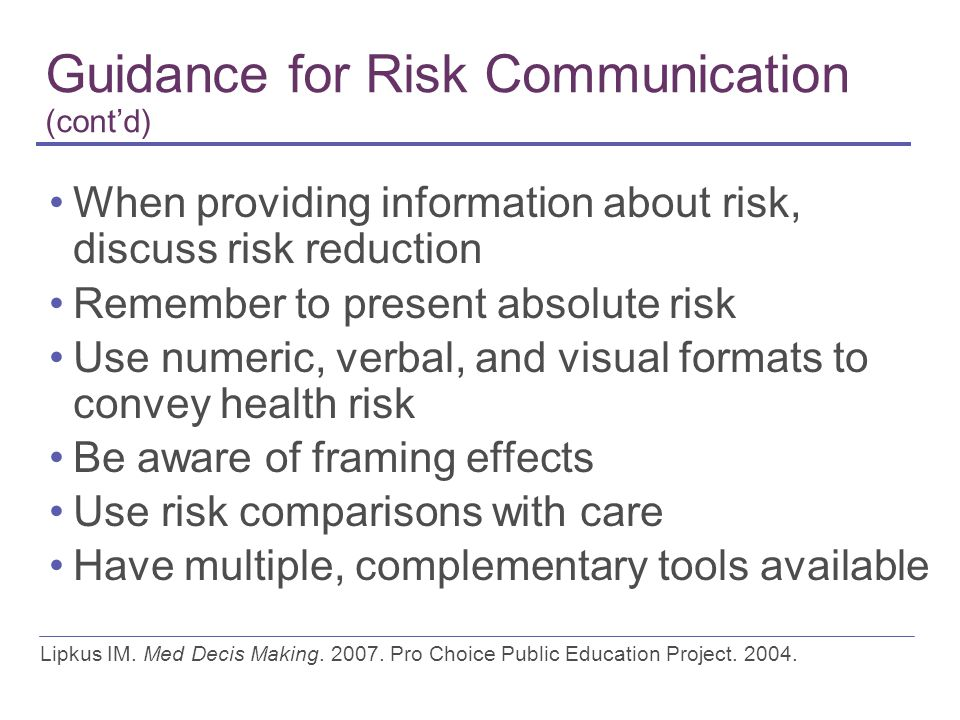 Guidance for Risk Communication (cont'd)