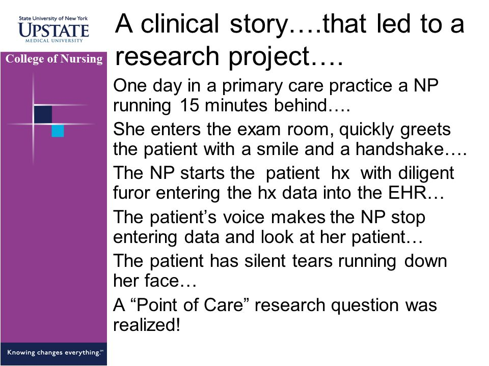 A clinical story….that led to a research project….