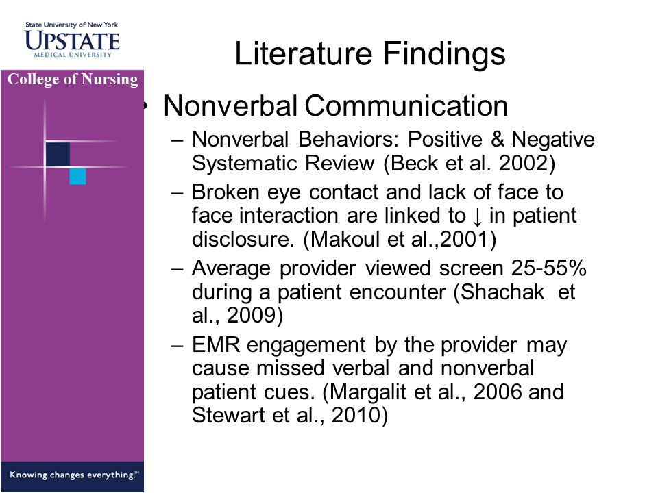 Literature Findings Nonverbal Communication