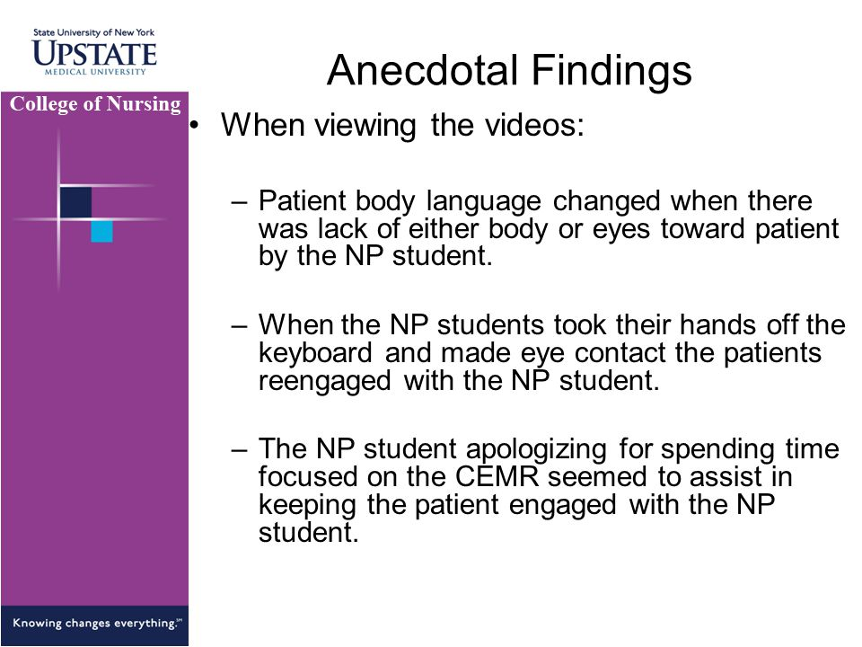 Anecdotal Findings When viewing the videos: