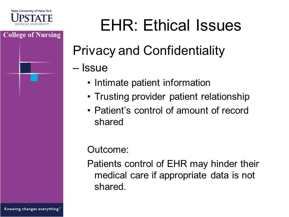 EHR: Ethical Issues Privacy and Confidentiality Issue