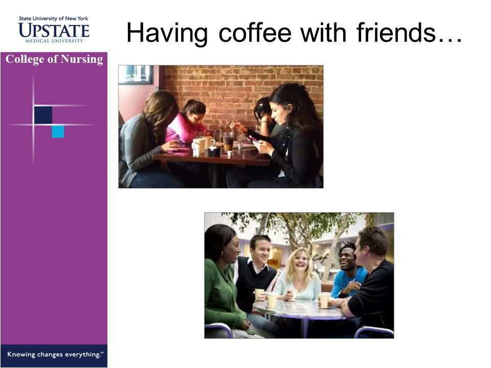 Having coffee with friends…