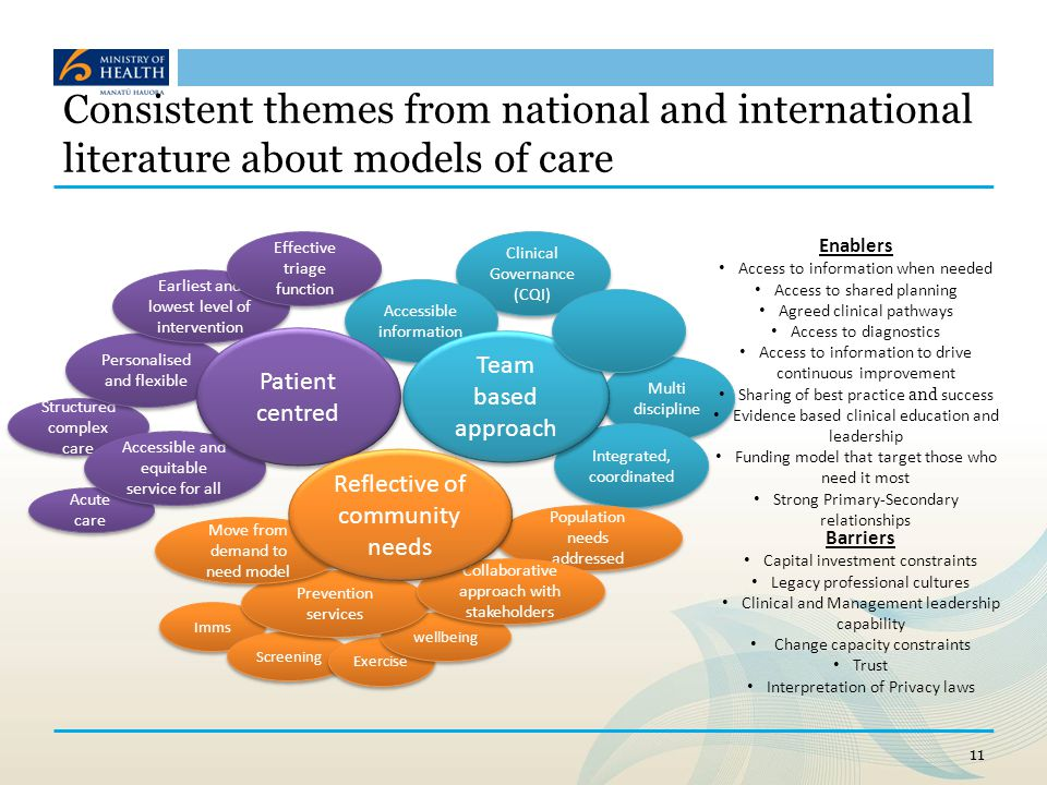 Consistent themes from national and international literature about models of care
