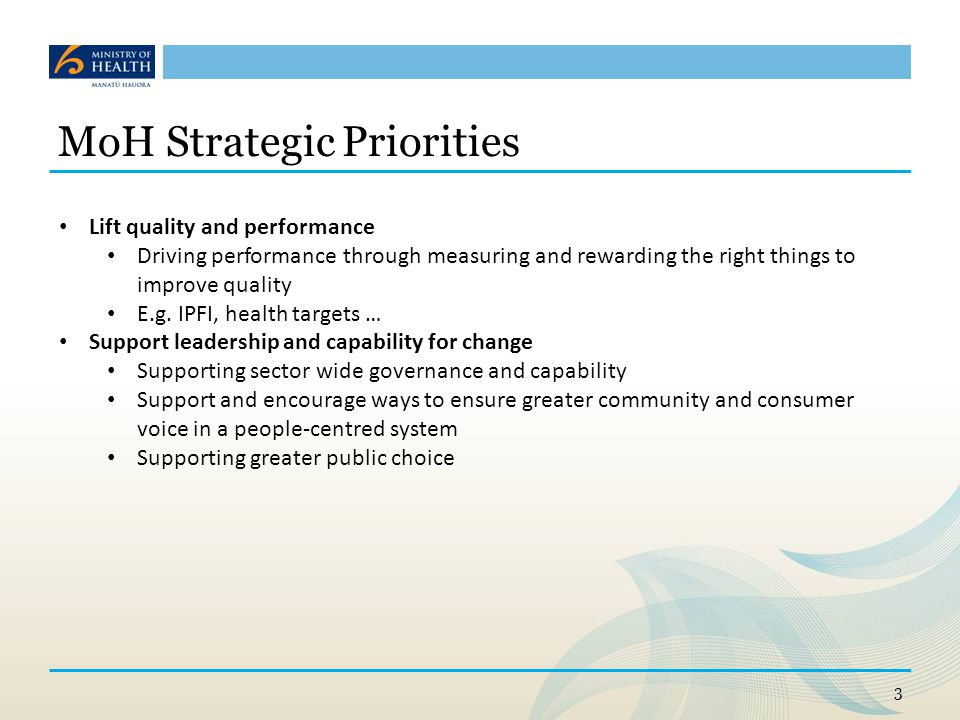 MoH Strategic Priorities