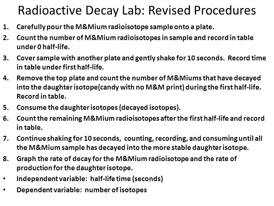 Radioactive Decay Lab: Revised Procedures