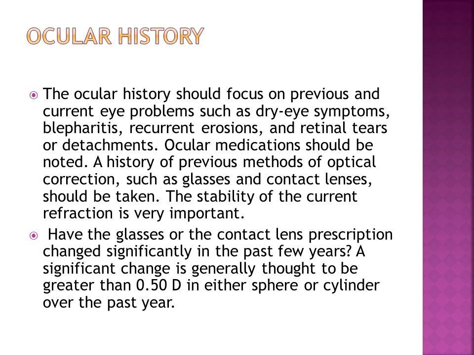 Ocular history