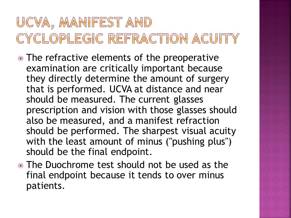 UCVA, manifest and cycloplegic refraction acuity