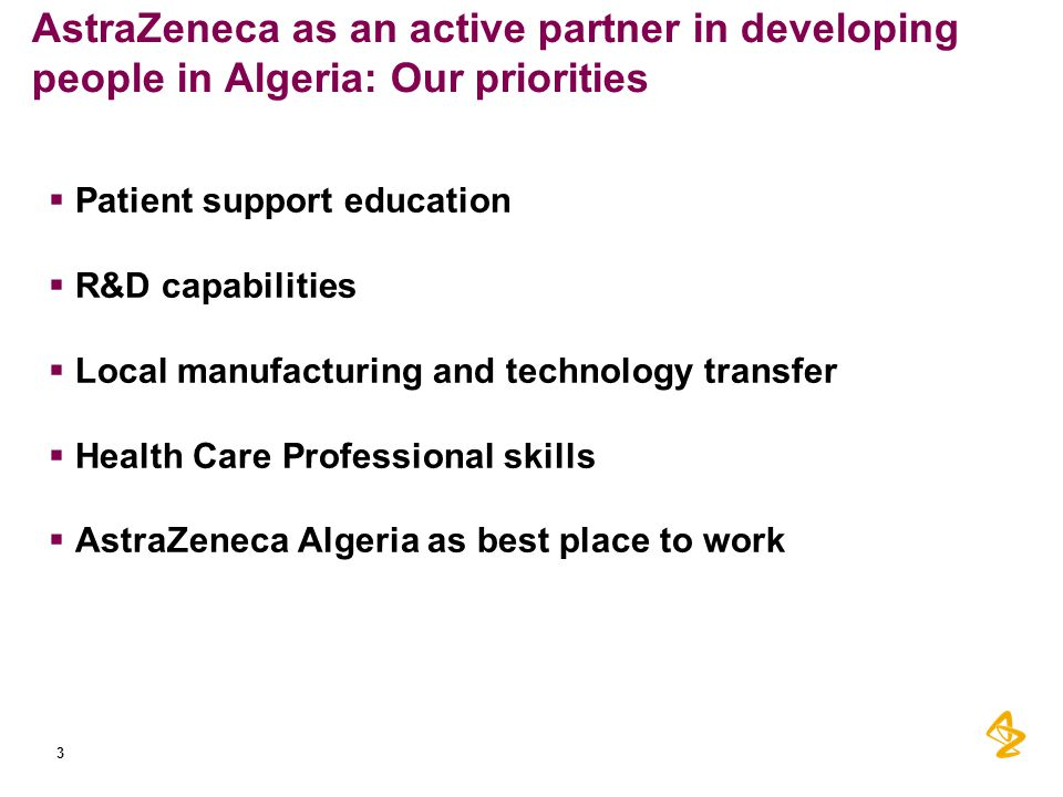 AstraZeneca as an active partner in developing people in Algeria: Our priorities