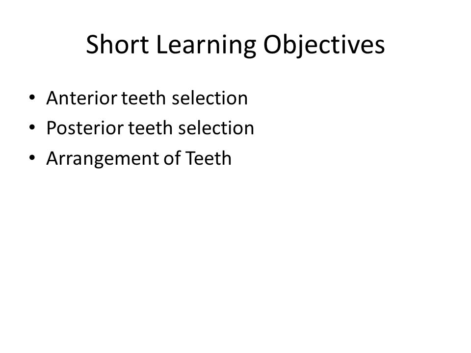 Short Learning Objectives