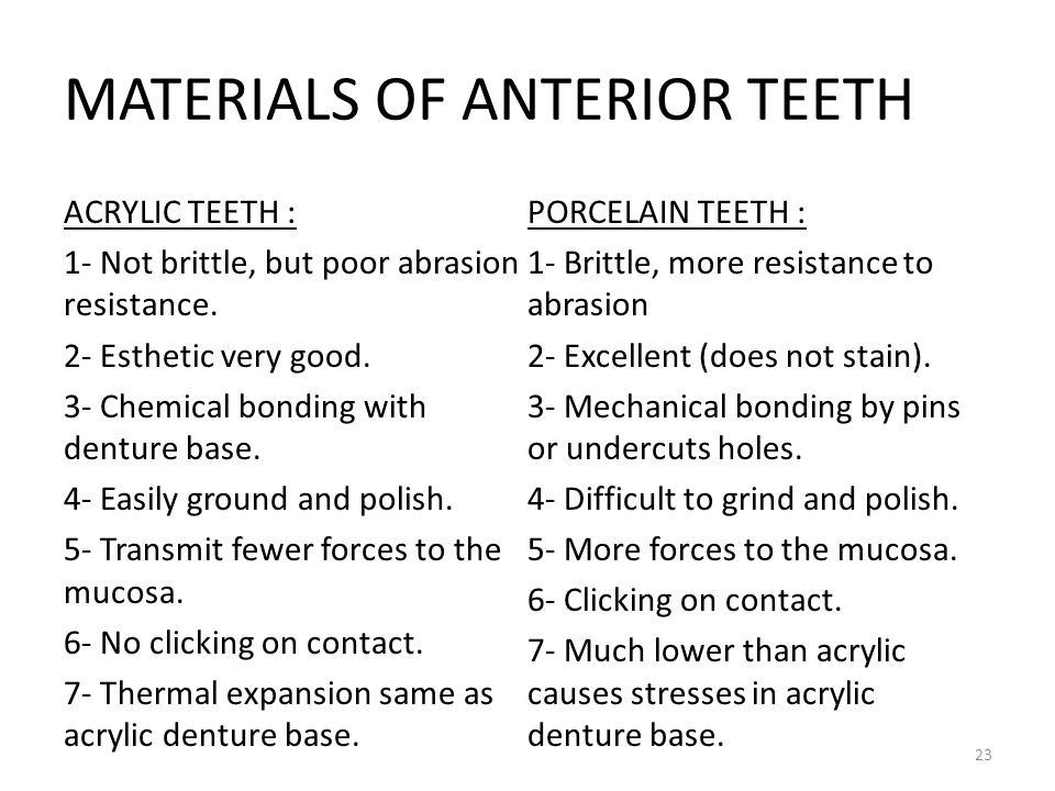 MATERIALS OF ANTERIOR TEETH