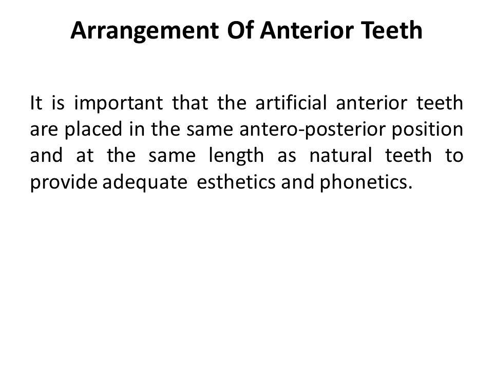 Arrangement Of Anterior Teeth