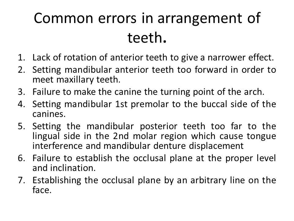 Common errors in arrangement of teeth.