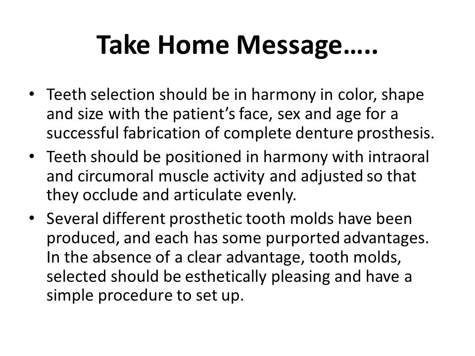 Take Home Message…..