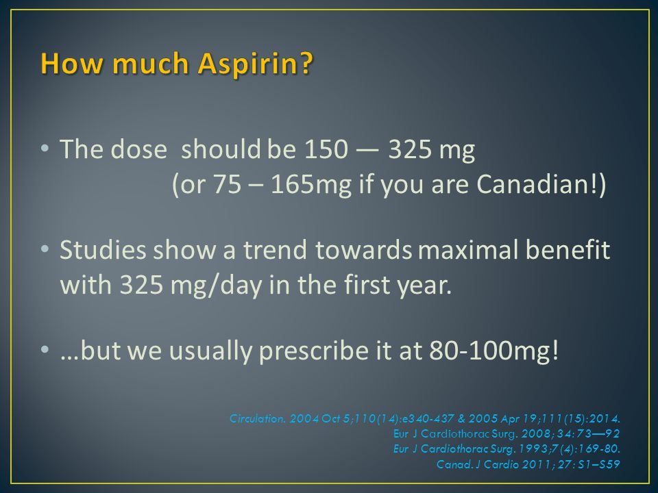 How much Aspirin The dose should be 150 — 325 mg (or 75 – 165mg if you are Canadian!)
