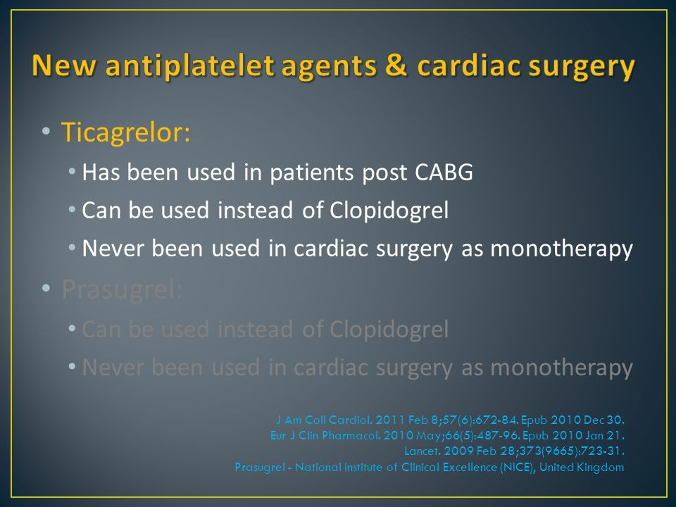 New antiplatelet agents & cardiac surgery