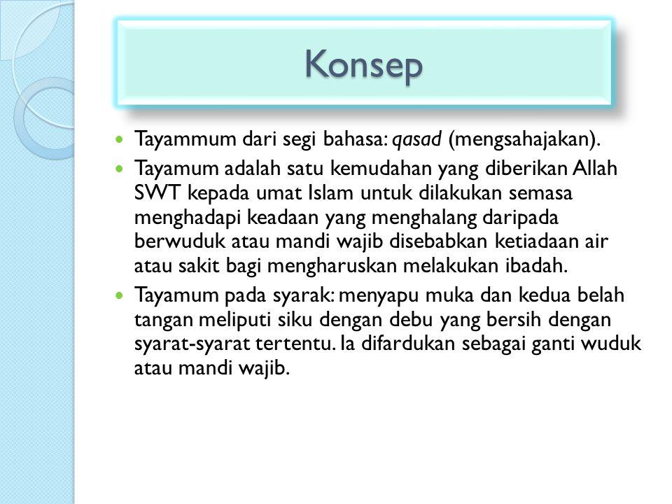 Konsep Tayammum dari segi bahasa: qasad (mengsahajakan).