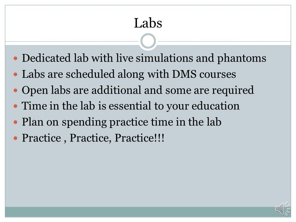Labs Dedicated lab with live simulations and phantoms