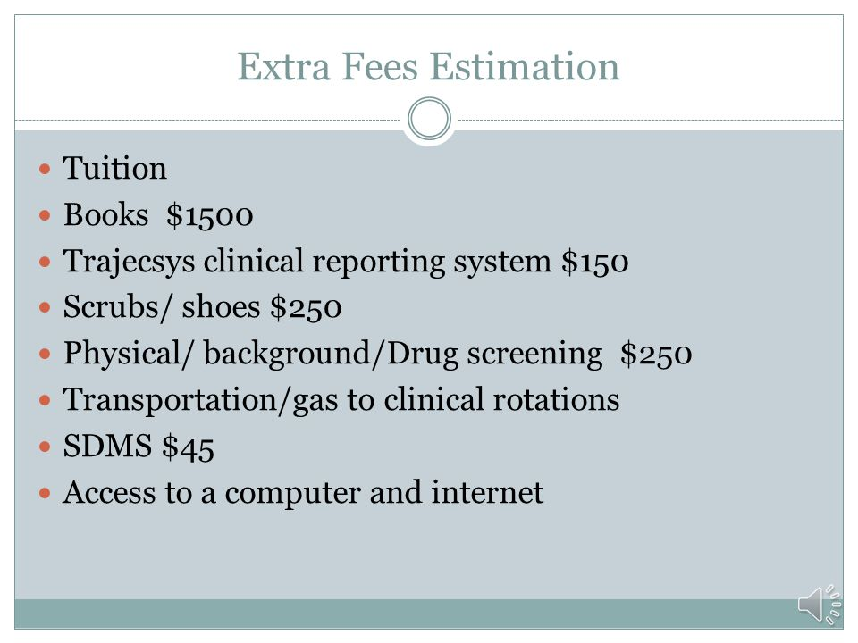 Extra Fees Estimation Tuition Books $1500