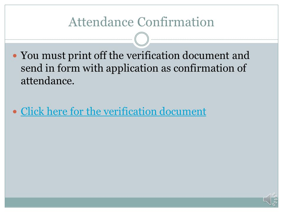 Attendance Confirmation