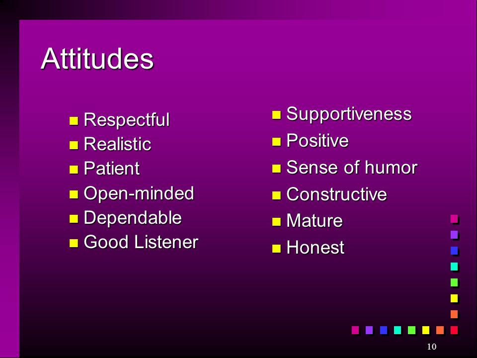Attitudes Supportiveness Respectful Positive Realistic Sense of humor