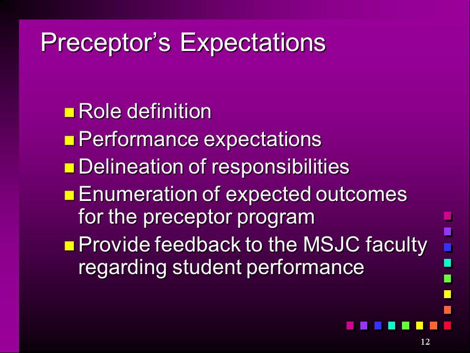 Preceptor's Expectations