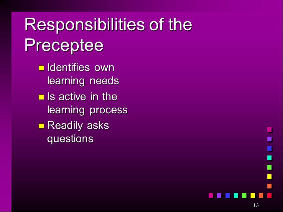 Responsibilities of the Preceptee
