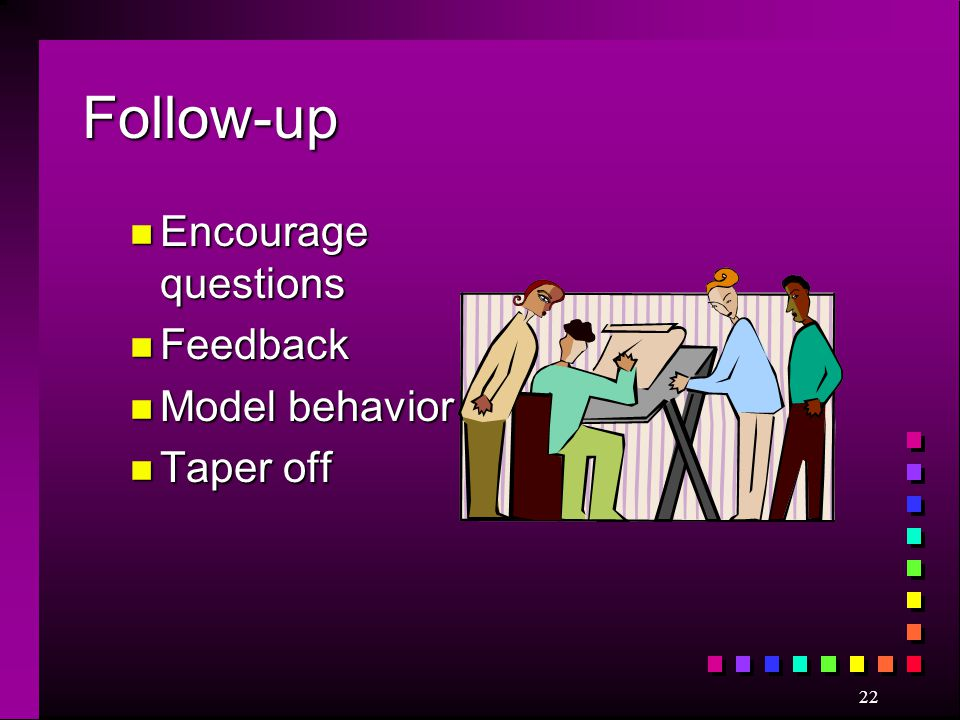 Follow-up Encourage questions Feedback Model behavior Taper off