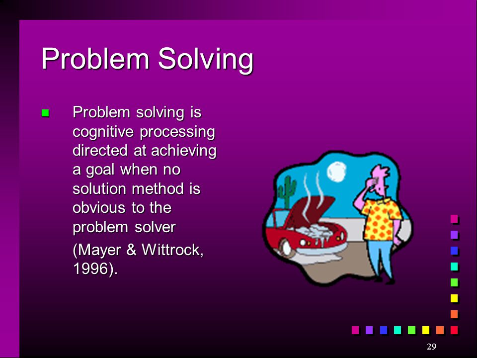 Problem Solving Problem solving is cognitive processing directed at achieving a goal when no solution method is obvious to the problem solver.