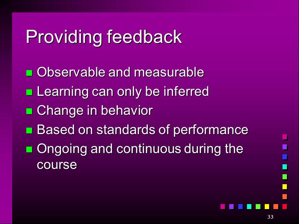 Providing feedback Observable and measurable