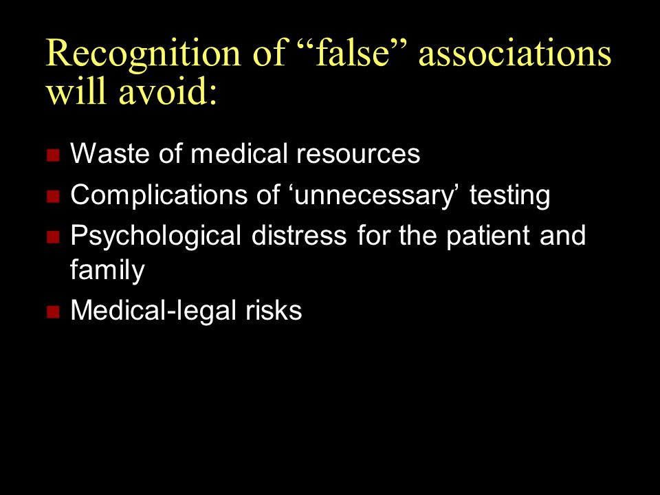 Recognition of false associations will avoid: